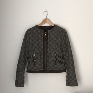 quilted tweed zara jacket, size small